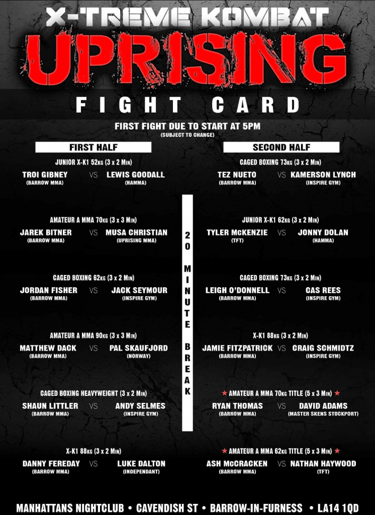 X-Treme Kombat Uprising Fight Card
